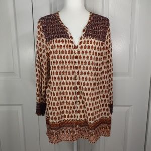 Lucky Brand Fall Colors Cotton Button Up Blouse XL